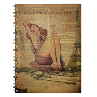 Paris Eiffel tower Bachelorette Party Pin Up Girl Spiral Notebook