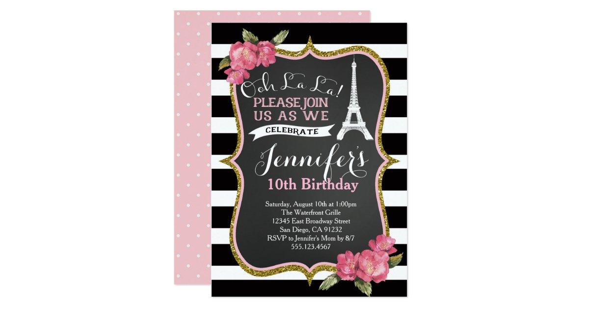 Paris eiffel tower birthday party invitation zazzle - Salon des seniors paris invitation ...
