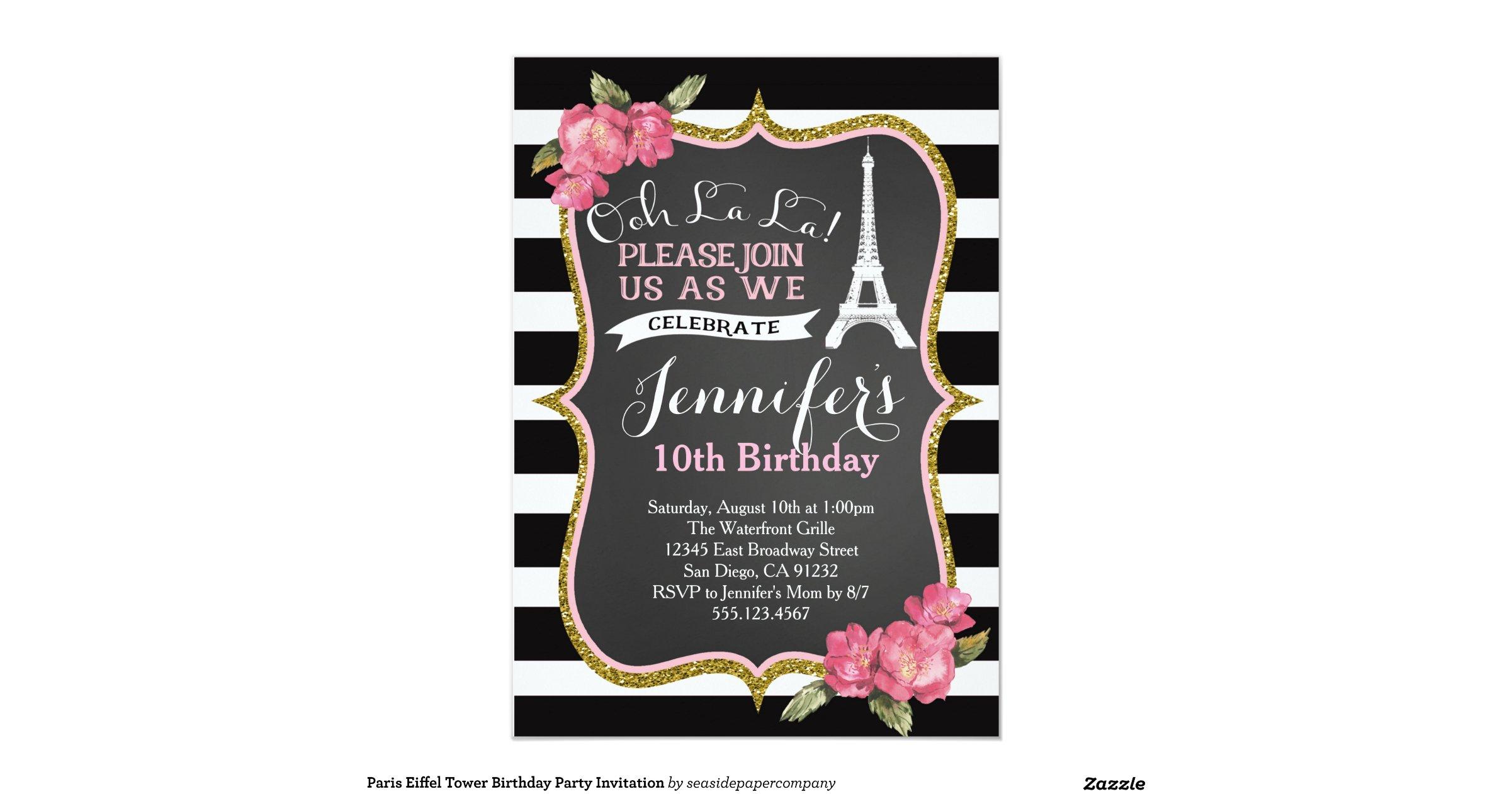 eiffel tower birthday invitations - 28 images - paris eiffel tower ...