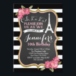 """Paris Eiffel Tower Birthday Party Invitation<br><div class=""""desc"""">matching party items can be made,  email seasidepapercompany@gmail.com</div>"""