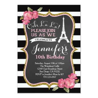 Paris Eiffel Tower Birthday Party Invitation at Zazzle