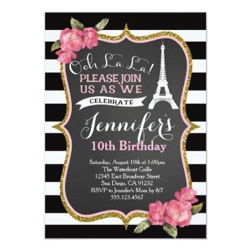 birthday Paris Eiffel Tower Birthday Party Invitation