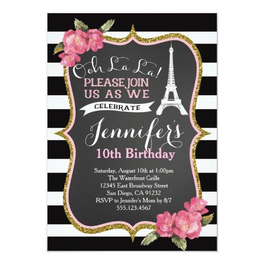 Paris Eiffel Tower Birthday Party Invitation Zazzlecom