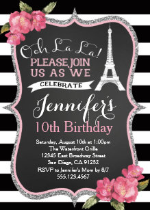 Eiffel tower invitations zazzle paris eiffel tower birthday party invitation filmwisefo
