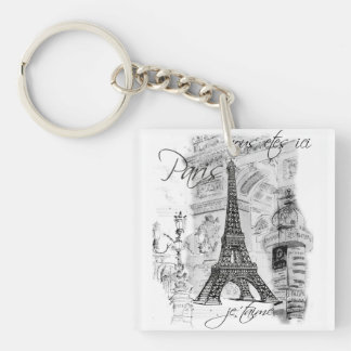 Paris Eiffel Tower Black and White Scene Double-Sided Square Acrylic Keychain