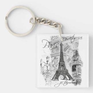 Paris Eiffel Tower Black and White Scene Keychain