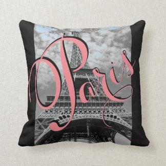Paris Eiffel Tower Black and White Throw Pillow