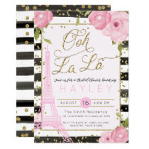 Paris Eiffel Tower Black Gold Bridal Shower Invite