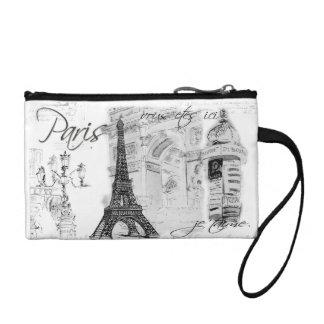Paris Eiffel Tower Black & White Collage Coin Wallet