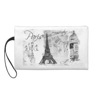 Paris Eiffel Tower Black & White Collage Wristlet Purses