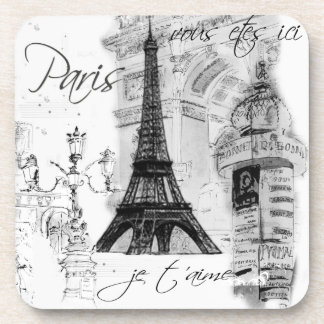 Paris Eiffel Tower Black & White Collage Beverage Coaster