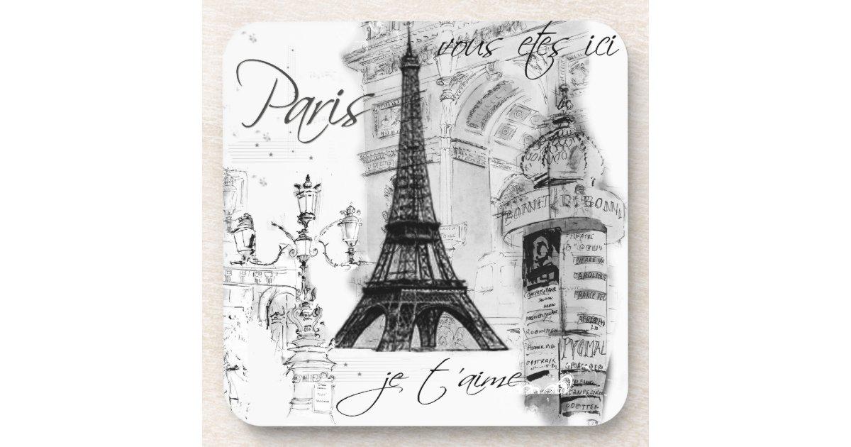 Paris Eiffel Tower Black White Collage Beverage Coaster Zazzle Com