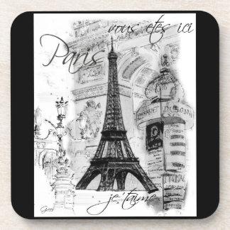 Paris Eiffel Tower Black & White Collage Coasters