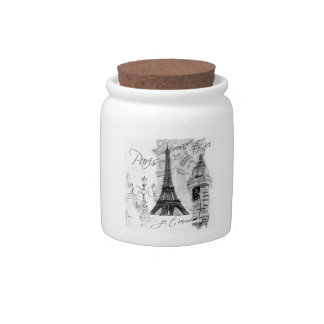 Paris Eiffel Tower Black & White Collage French Candy Jars