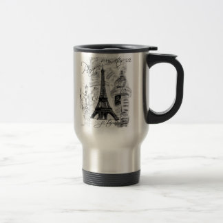 Paris Eiffel Tower Black White Collage French Mugs
