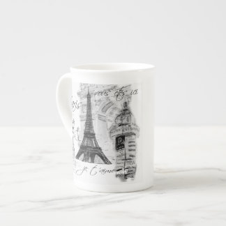 Paris Eiffel Tower Black & White Collage French Tea Cup