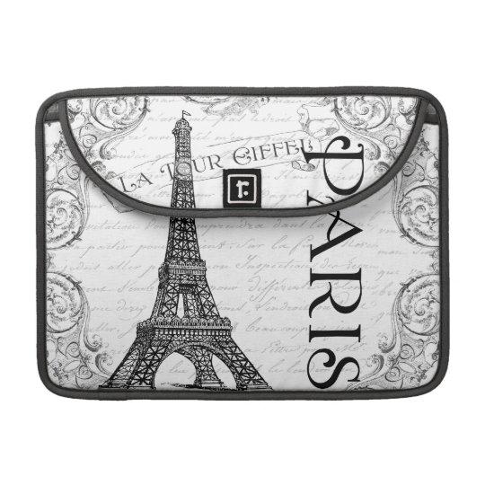 Paris Eiffel Tower Black & White Collage MacBook Pro Sleeve