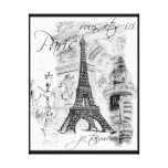Paris Eiffel Tower Black & White Collage Scene Canvas Print