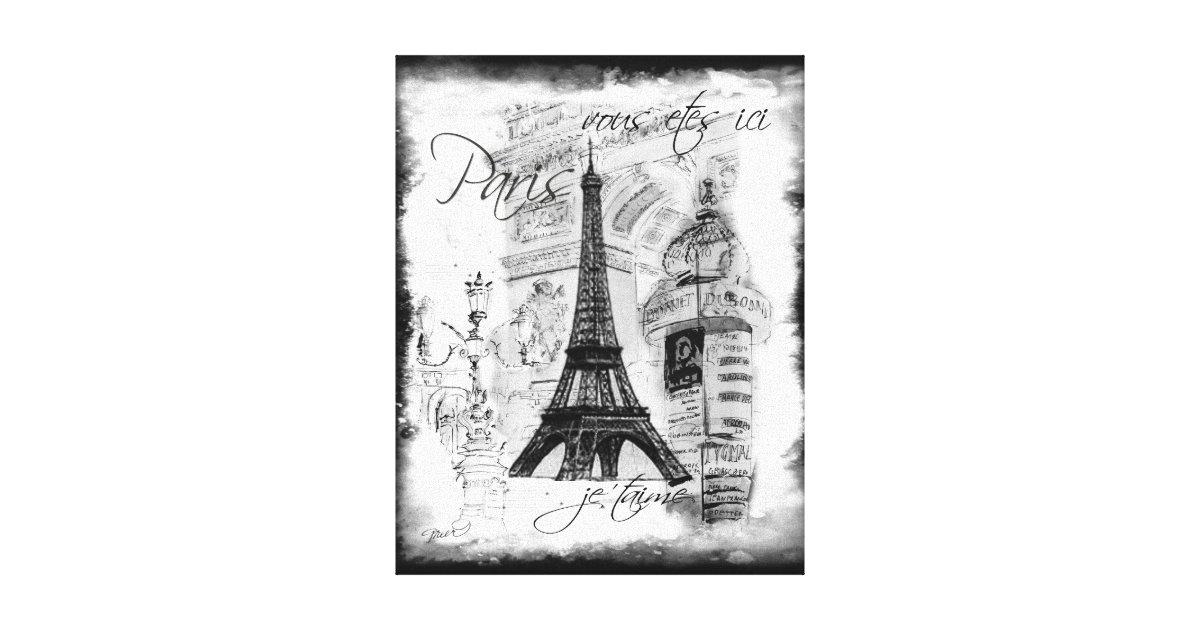 Paris Eiffel Tower Black White Collage Scene Canvas Print Zazzle Com