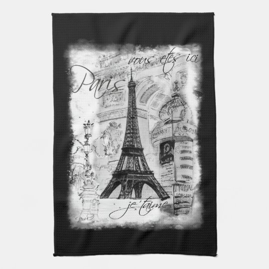 Paris Eiffel Tower Black & White Collage Scene Kitchen Towel