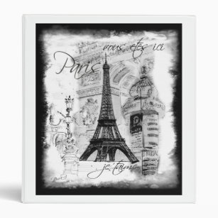 Paris Eiffel Tower Black White Collage Street 3 Ring Binder