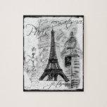 Paris Eiffel Tower Black & White Collage Street Sc Jigsaw Puzzles