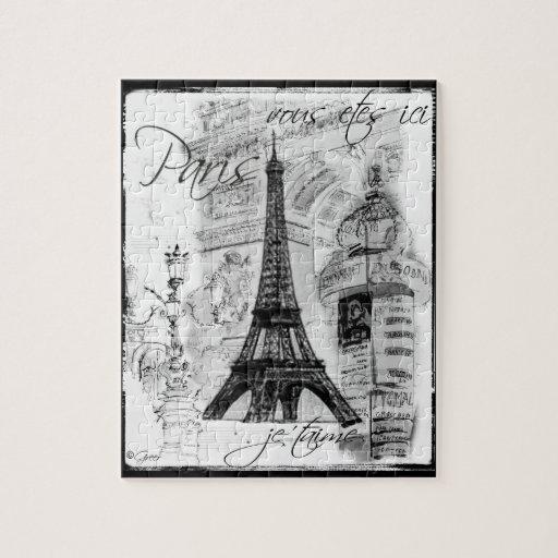 Paris Eiffel Tower Black & White Collage Street Sc Puzzle