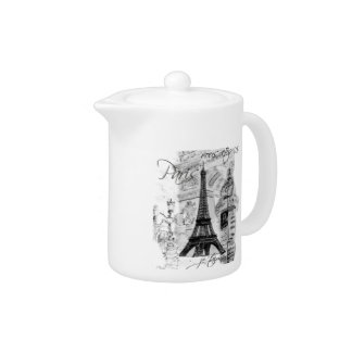 Paris Eiffel Tower Black & White Collage Teapot