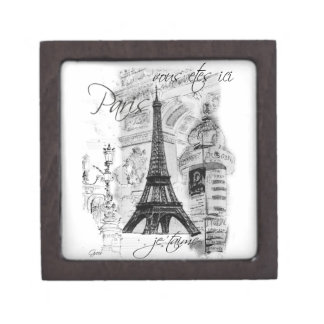 Paris Eiffel Tower Black & White Scene Jewelry Box