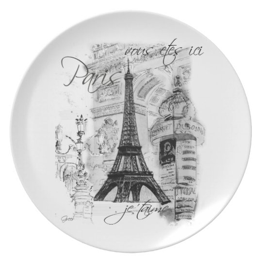 Paris Eiffel Tower Black & White Scene Melamine Plate