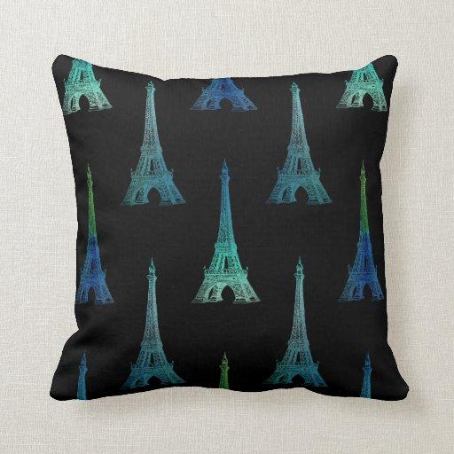 Paris Eiffel Tower Pillow 16 X 16: Paris Eiffel Tower Blue Black Throw Pillow