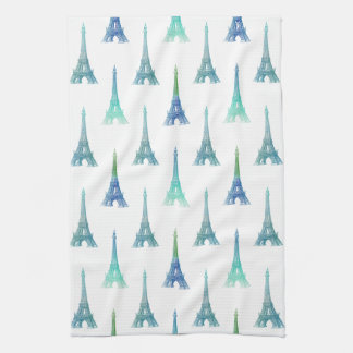 Paris Eiffel Tower Blue Green Kitchen Towel