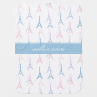 Paris Eiffel Tower Blue Personalized Baby Blanket