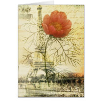 Paris eiffel tower botanical poppy flower
