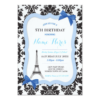 Paris Eiffel Tower Bow Blue Birthday Invite