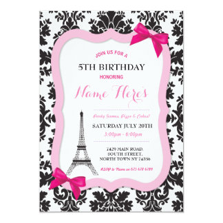 Paris Eiffel Tower Bow Damask Birthday Invite