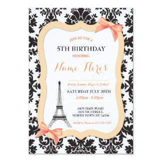 Paris Eiffel Tower Bow Peach Birthday Invite