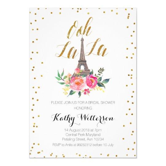 Paris eiffel tower bridal shower invitation - Salon des seniors paris invitation ...