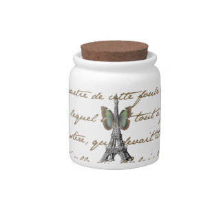 Paris Eiffel Tower Butterfly Jar Candy Jar