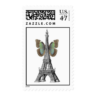 Paris Eiffel Tower Butterfly Stamps