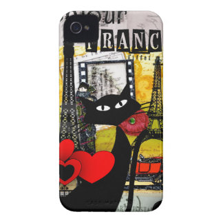 Paris Eiffel Tower Cat Lovers gifts Case-Mate iPhone 4 Case