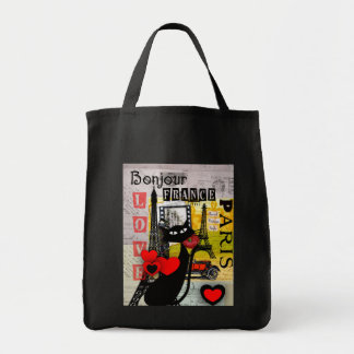 Paris Eiffel Tower Cat Lovers gifts Grocery Tote Bag