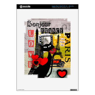 Paris Eiffel Tower Cat Lovers gifts iPad 3 Decals