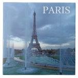 "Paris Eiffel Tower ceramic tile<br><div class=""desc"">A beautiful photograph of the Eiffel Tower and fountains in Paris printed on a souvenir ceramic tile.</div>"