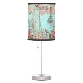 Paris Eiffel Tower & Chandelier Chic Teal Collage Desk Lamp