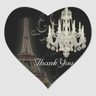 Paris Eiffel Tower Chandelier vintage wedding Heart Sticker
