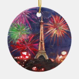 Paris Eiffel Tower City of Love with Silvester New Ceramic Ornament