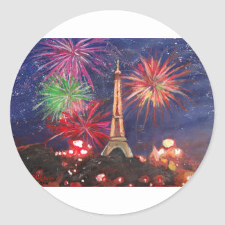 Paris Eiffel Tower City of Love with Silvester New Classic Round Sticker