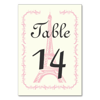 Paris Eiffel Tower classic wedding table number Card