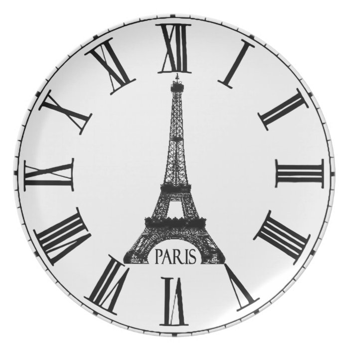Paris Eiffel Tower Clock French Dinner Plate